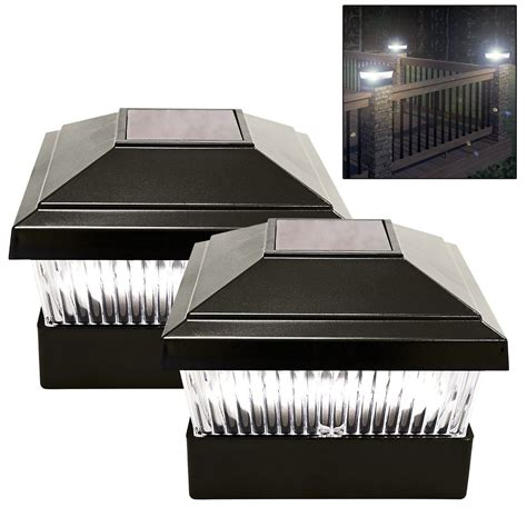 solar powered l post solar powered led outdoor garden post deck cap square