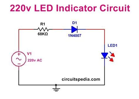 Led Bulb 9 C Wiring Schematic by 220v Led Indicator Circuit For Mains Simple 220v Mains