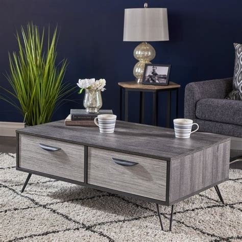 Solid tops and glass tops. Noble House Gianluca Mid Century Modern Two Toned Faux Wood Coffee Table, Sonoma Grey Oak, Grey ...
