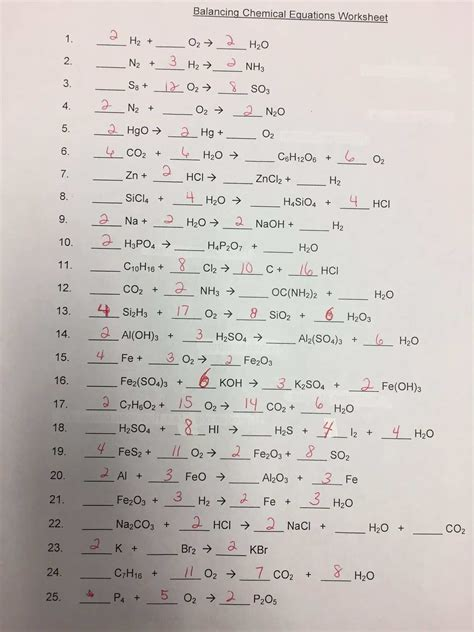 Balance and classify five types of chemical reactions: Chemistry Balancing Chemical Equations Worksheet Answer ...
