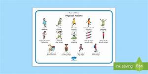 Pe Physical Actions Word Mat Arabic  English