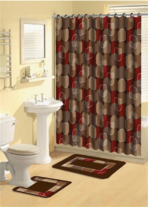Modern Circles Brown Multi  Pcs Shower Curtain With