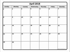 April 2018 Printable Calendar monthly printable calendar