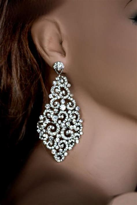 large chandelier earrings big bridal earrings swarovski earrings wedding
