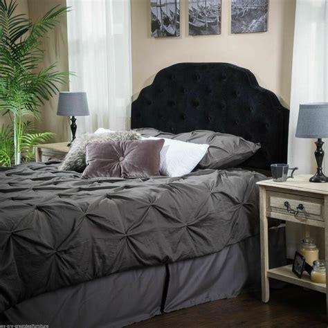 bedroom furniture queen  full black suede headboard