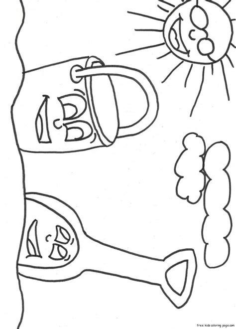 print  beach pail  shovel coloring book