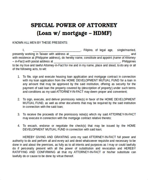Free Power Of Attorney Template by Special Power Of Attorney Form Howtheygotthere
