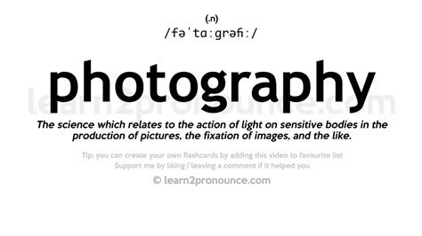 Photography Pronunciation And Definition