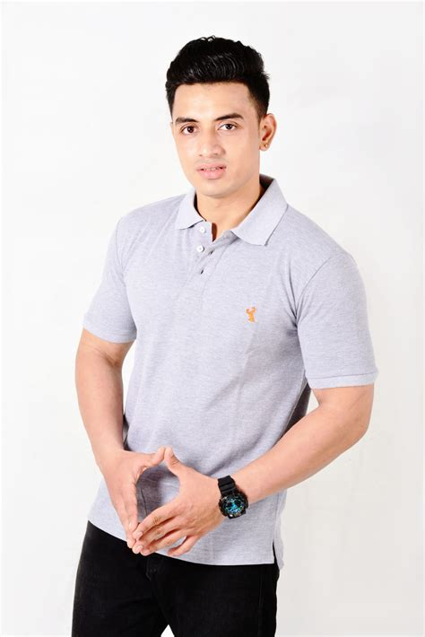 Collared Neck Grey T-Shirt for Men