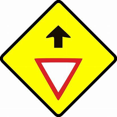 Caution Clip Sign Way Give Signs Clipart