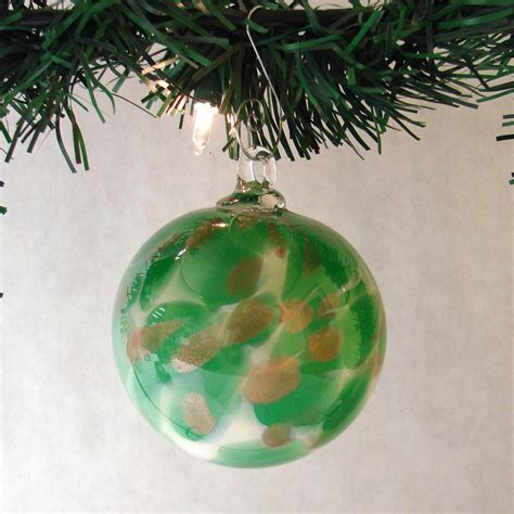 green white gold glitter blown glass ornament
