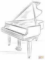 Piano Coloring Grand Drawing Draw Printable sketch template