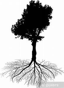 Papier Peint Arbre Noir Et Blanc : papier peint feuilles caduques arbre noir sur fond blanc avec la racine pixers nous ~ Nature-et-papiers.com Idées de Décoration
