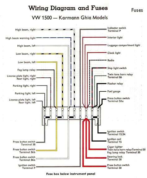 Diagram 10 Fuse Box Wiring For 1968 Vw by Karmann Ghia Schaltpl 228 Ne