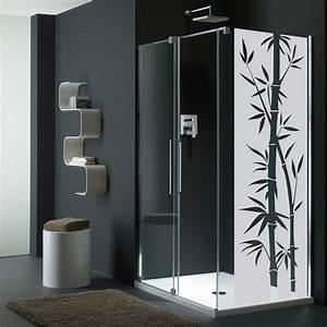 sticker porte de douche bambou exotique stickers art et With stickers pour porte de douche