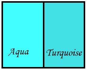 what does the color teal difference between aqua and turquoise