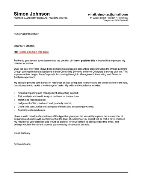 graduate cover letter exles cover letter exle