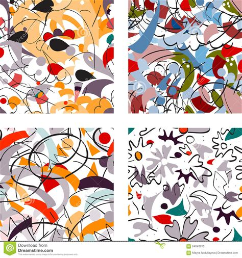 Abstract Flower Shapes by Seamless Abstract Flower And Shapes Pattern Stock Vector