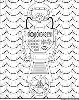 Coloring Underwater Adult Robot sketch template