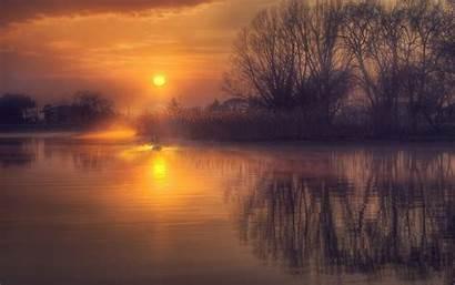 Sunrise Reflection Lake Gold Mist Landscape Water