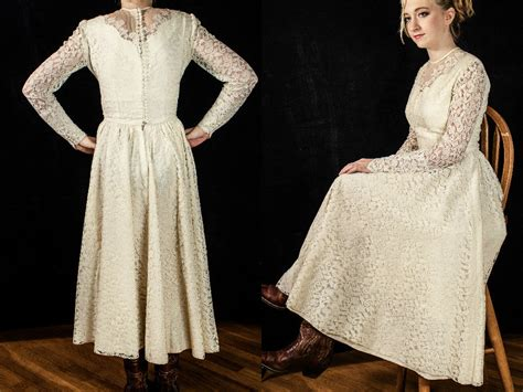 Vintage Off White Lace Tea Length Dress With Long Sleeves