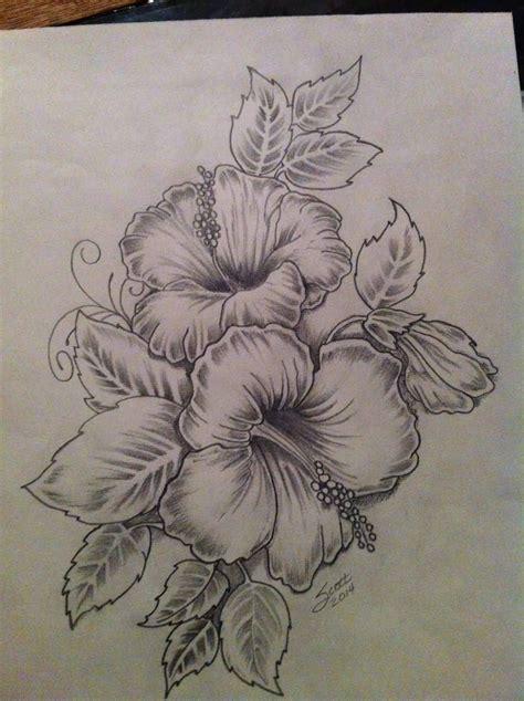 nice hibiscus flowers tattoo drawing niviy tattoos
