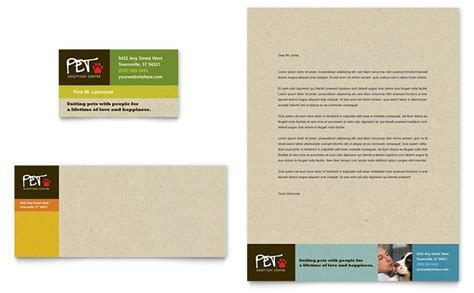 animal shelter pet adoption business card letterhead