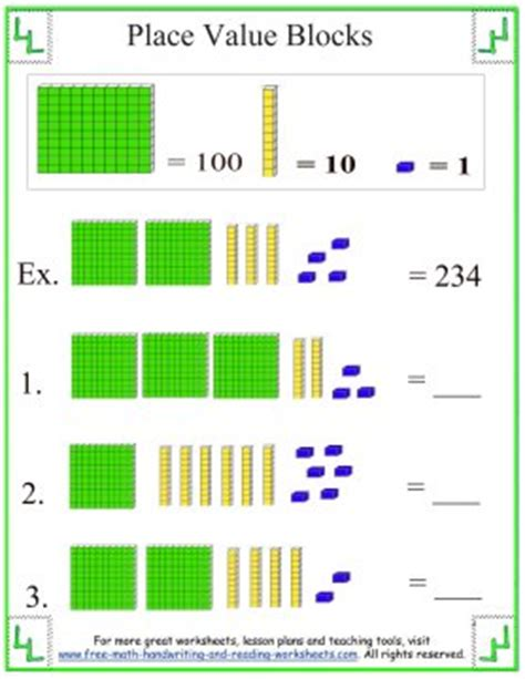Place Value Blocks  Base Ten Worksheets