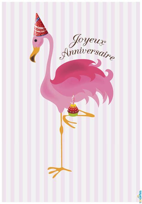 carte anniversaire flamant rose cartes