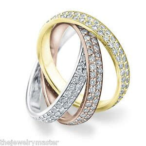 diamond rolling eternity band wedding ring white yellow rose tri gold 3 carat ebay