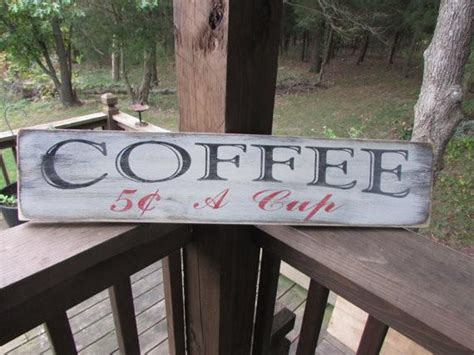 Primitive Rustic Wood Signs Coffee Sign Hand Painted