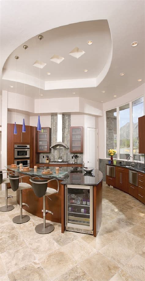 The addition of silver and beautiful hanging lamps, add color using glass kitchen ceiling ideas are the best solution when facing awkward kitchen space. 3 Design Ideas to Beautify your Kitchen Ceiling ...