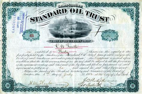 scripophilycom offers original standard oil trust stock