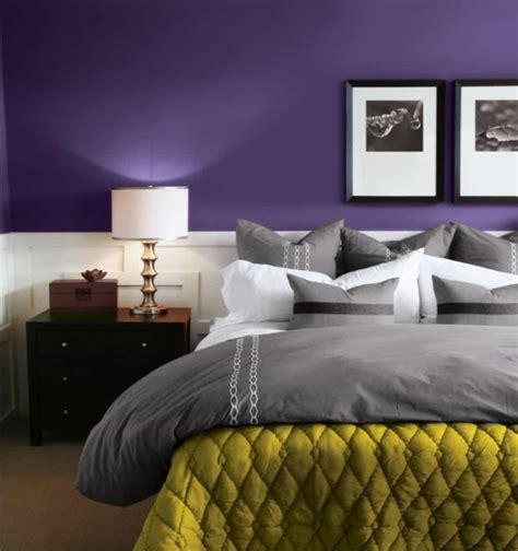 Bedroom Interior Painting With Purple Walls Interior