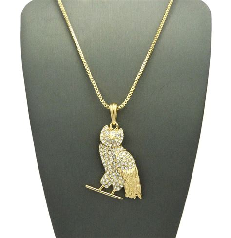 jesus necklace 14k gold plated ovo owl on a 24inch box chain datnewice