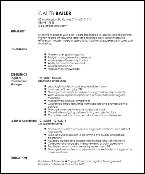 Logistics Resume Skills by Free Traditional Logistics Coordinator Resume Template Resumenow