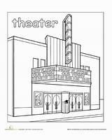 Town Coloring Theater Places Paint Worksheet Worksheets Education Pages Preschool Around Books Kindergarten Theatre Community Building Without Printable Drama Him sketch template