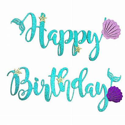Mermaid Birthday Happy Banner Letter Card Party