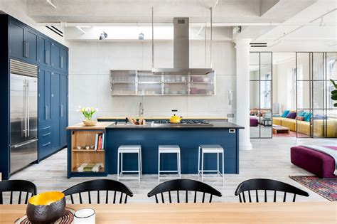 Royal Blue Kitchen On Light Color Floors Is A Modern