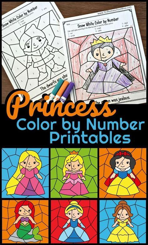 Princess Color by Number Printables | Preschool fun ...