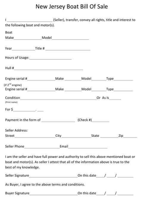 Nj Boat Bill Of Sale Pdf by New Jersey Bill Of Sale Form For Free Formtemplate