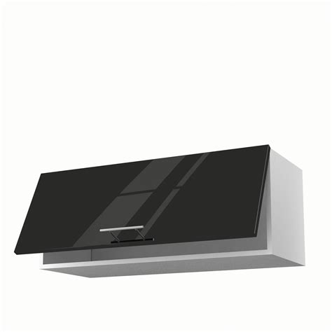 meuble haut cuisine noir laque meuble de cuisine haut noir 1 porte h 35 x l 90 x p 35 cm leroy merlin