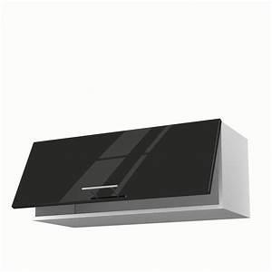 Meuble Haut Pour Four Encastrable : meuble de cuisine haut noir 1 porte rio x x cm leroy merlin ~ Teatrodelosmanantiales.com Idées de Décoration