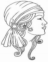 Gypsy Drawing Tattoo Line Drawings Tattoos Lady Luck Embroidery Coloring Head Colouring Face Quilling Outline Sketch Getdrawings Patterns Wagon Printable sketch template
