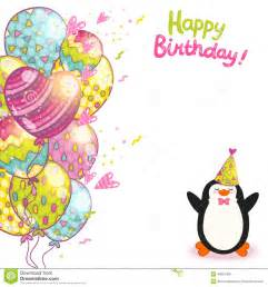 happy birthday card background with penguin stock vector image 40021308