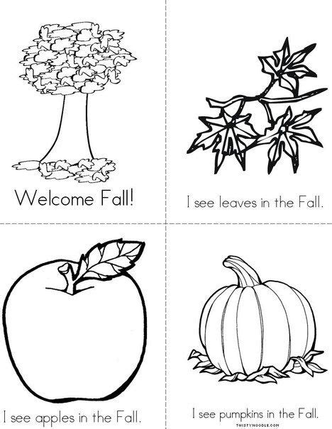 fall mini book  twistynoodlecom autumn coloring pages worksheets  mini books
