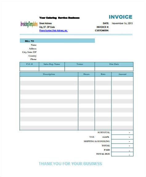 catering receipt templates  samples examples