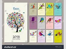 Birds Tree Calendar 2018 Design Vector Stock Vector
