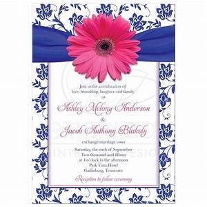 wedding invitation pink gerber daisy damask royal blue With royal blue and red wedding invitations