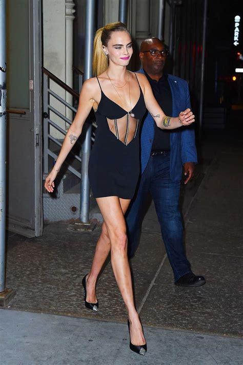 delevingne   black dress      york